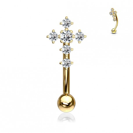 Piercing arcade doré avec une croix en zirconium Vasuj ARC121