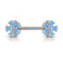 Piercing téton 10mm avec deux fleurs bleu en opaline Saqy Piercing téton5,90€
