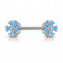 Piercing téton 10mm avec deux fleurs bleu en opaline Saqy