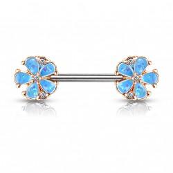 Piercing téton 10mm avec deux fleurs bleu en opaline Saqy TET061