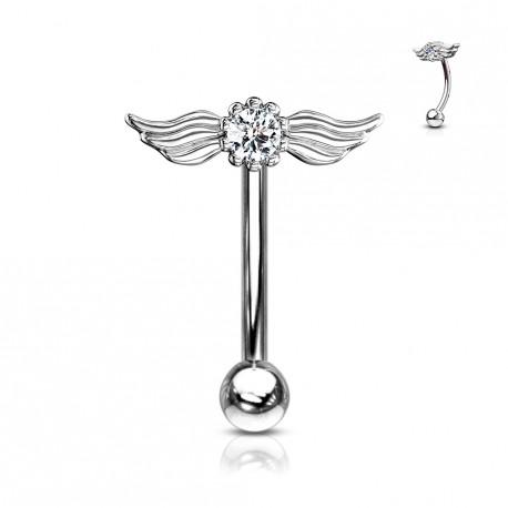 Piercing arcade aux ailes d'anges et crystal Waqo ARC123