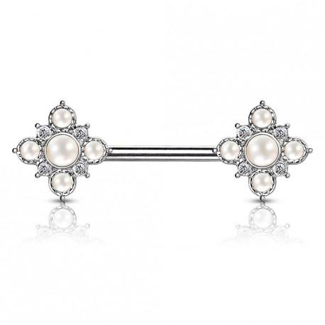 Piercing téton 12mm square vintage avec perles Gaop TET109