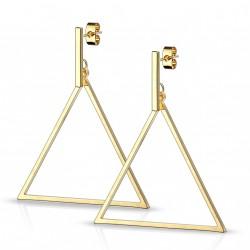 Boucle d'oreille doré en forme de triangle Hasu