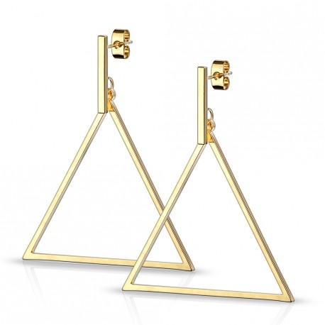 Boucle d'oreille doré en forme de triangle Hasu BOU008