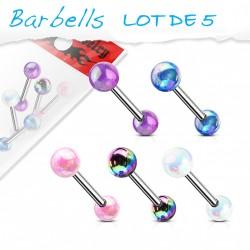 Lot 5 piercings de langue avec boules à effets métallique Laqy LAN027