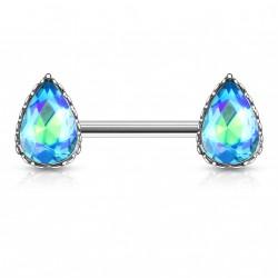 Piercing téton en forme de larme en crystal bleu aqua Tadu TET112