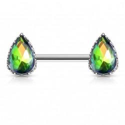 Piercing téton en forme de larme en crystal vitrail medium Tyfa Piercing téton4,80€