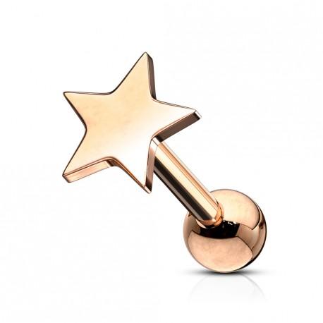 Piercing tragus avec une étoile or rose Bikol TRA005