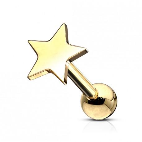 Piercing tragus avec une étoile doré Bikaw TRA005