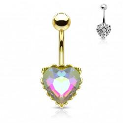 Piercing nombril doré avec un coeur en crystal blanc Guxer NOM111