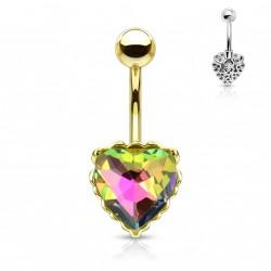 Piercing nombril doré avec un coeur en crystal vitrail médium Hady NOM111