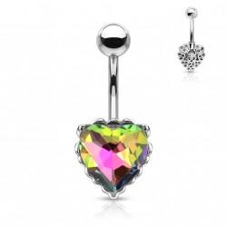 Piercing nombril avec un coeur en crystal vitrail médium Kolux