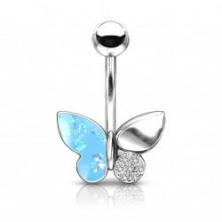 Piercing nombril papillon aux ailes bleu Vasxy NOM249