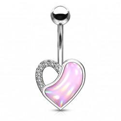 Piercing nombril coeur et opaline rose Caxy NOM005