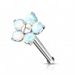 Piercing nez droit avec une fleur en opaline blanche Suxik NEZ104