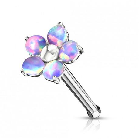 Piercing nez droit avec une fleur en opaline violette Siko NEZ104