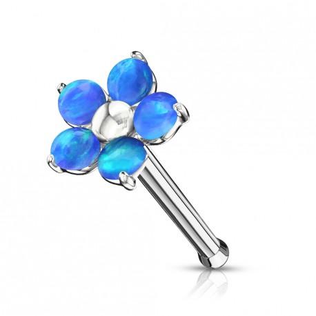 Piercing nez droit avec une fleur en opaline bleu Safuj NEZ104