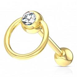 Piercing langue anneau doré avec crystal blanc Sanun LAN091