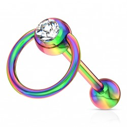 Piercing langue anneau arc en ciel avec crystal blanc Suko LAN091