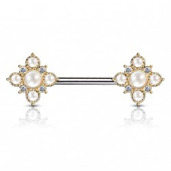 Piercing téton 12mm square vintage doré avec perles Gypa TET109