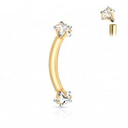 Piercing arcade doré 8mm en forme d' étoiles Jukol ARC030
