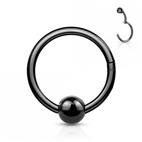 Piercing anneau articulé 8 x 1,2mm avec une boule noire Kujko ANN140