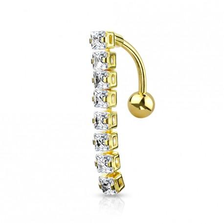 Piercing nombril doré inversé avec 8 zirconiums blanc Dalux NOM579