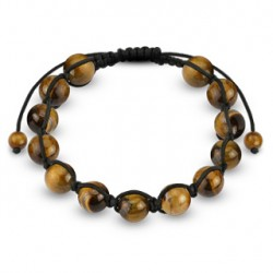 Bracelet Shamballa avec boules en pierre oeil de tigre Baqy BRA040