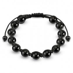 Bracelet Shamballa orné de boules métalliques noires Tacy BRA044