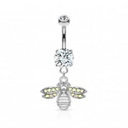 Piercing nombril avec une abeille ornée de crystals Fayx NOM571