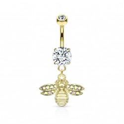 Piercing nombril doré avec une abeille ornée de crystals Nady NOM571