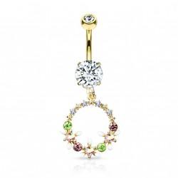 Piercing nombril doré avec un couronne de fleurs Lades NOM101