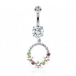 Piercing nombril pendentif avec un couronne de fleurs Caqyx NOM101