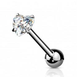 Piercings langue avec un cœur en zirconium blanc Xaqy Piercing langue5,75€