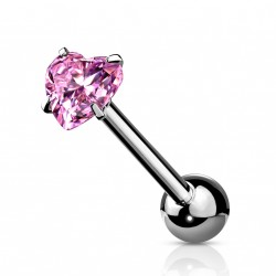 Piercings langue avec un coeur en zirconium rose Galox LAN009