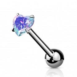 Piercings langue avec un coeur en zirconium aurore boréale Vaqik LAN009