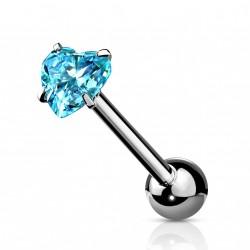 Piercings langue avec un coeur en zirconium bleu Xaxom LAN009