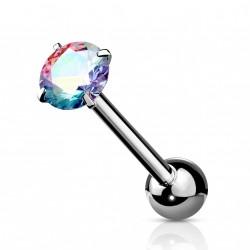 Piercings langue avec un zirconium aurore boréale Balik LAN034