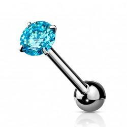 Piercings langue avec un zirconium bleu aqua Tasys LAN034