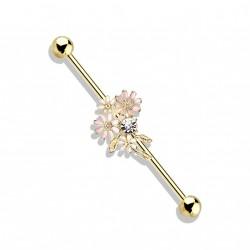 Piercing industriel doré de 38mm et un bouquet de fleurs rose Waty IND140