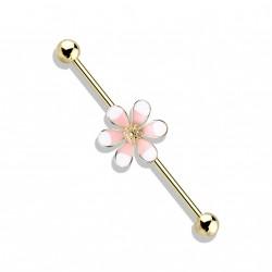 Piercing industriel doré 38mm et une fleur rose Wuko IND141