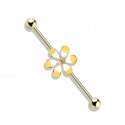 Piercing industriel doré 38mm et une fleur jaune Saqy IND141