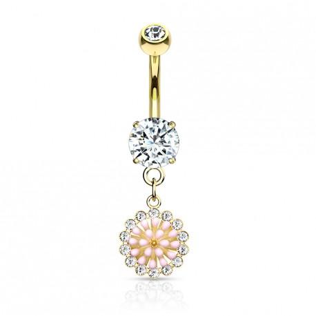 Piercing nombril doré pendentif avec une fleur rose Gaduk NOM210