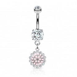 Piercing nombril pendentif avec une fleur rose Gukul Piercing nombril7,49€