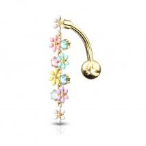 Piercing nombril inversé doré avec un chapelet de fleurs Vaxy Piercing nombril8,49€