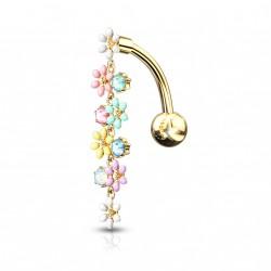 Piercing nombril inversé doré avec un chapelet de fleurs Vaxy NOM230
