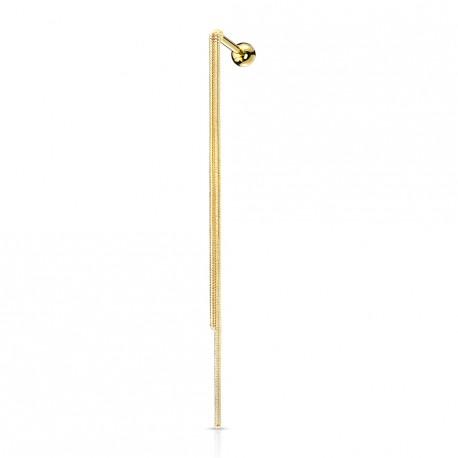 Piercing doré hélix tragus avec double chaînettes Naxo HEL006