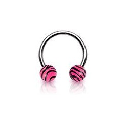 Piercing fer à cheval 10mm zébré rose Anot FER004