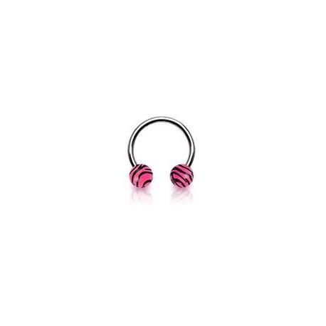 Piercing fer à cheval 10mm zébré rose Anot Piercing oreille3,49€