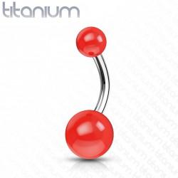 Piercing nombril titane rouge en forme de boules Vykox NOM124